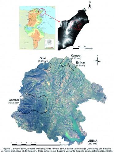 Localisation, modèle numérique de terrain et vue satellitale des bassins versants du Lebna et de Kamech (Sicmed
